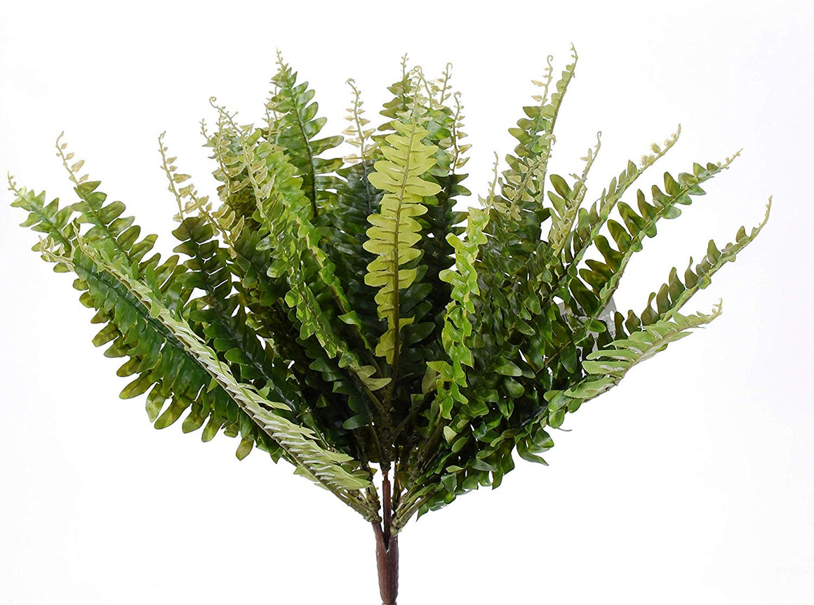 Ten Waterloo 18 Inches Wide Artificial Boston Fern Bush in Green, x31 Stems
