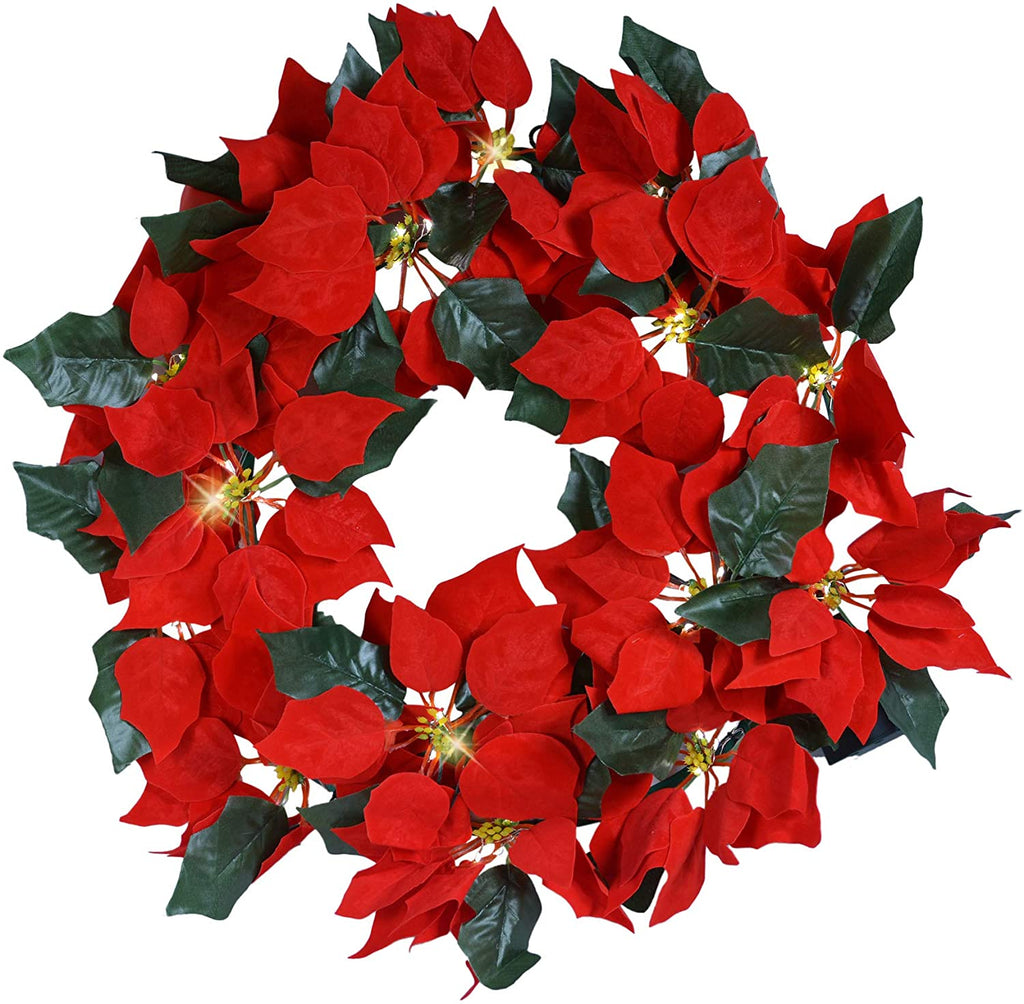 TenWaterloo 21 Inch Artificial Lighted Red Christmas Poinsettia Wreath with Timer, Battery Operated