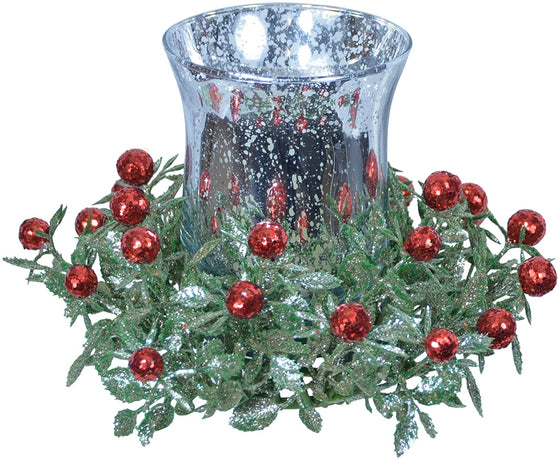 TenWaterloo Silver, Green and Red Christmas Glass Votive Candle Holder with Glittered Berries and Leaves, 6 Inches Wide x 4 Inches High, Votive Candle or Tea Light Candle Holder