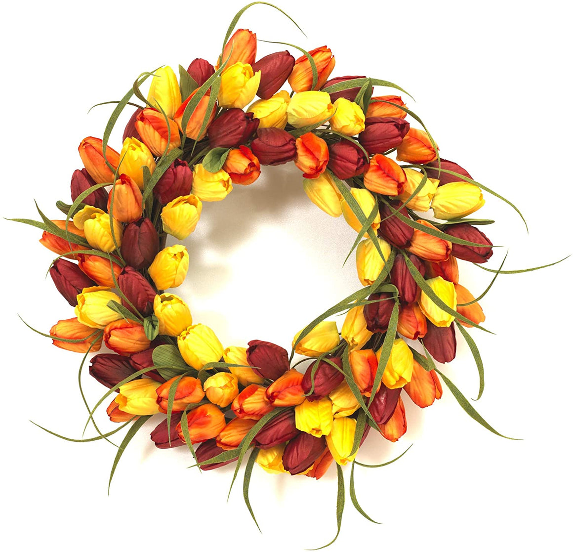 GER 18 Inch Artificial Tulip Wreath in Yellow, Magenta Red and Orange on a Hand Tied Twig Base, Spring and Summer Front Door Wreath