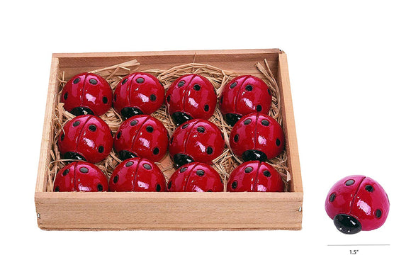 TII Set of 12 Resin Mini Ladybugs, 1.5 inches Long, Lucky Red Ladybug Garden Figurines