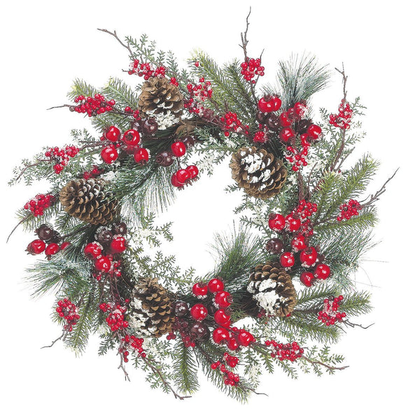 24 Inch Iced Mixed Pine Christmas Wreath with Cranberry, Red Berry and Pine Cone - Artificial Christmas Wreath