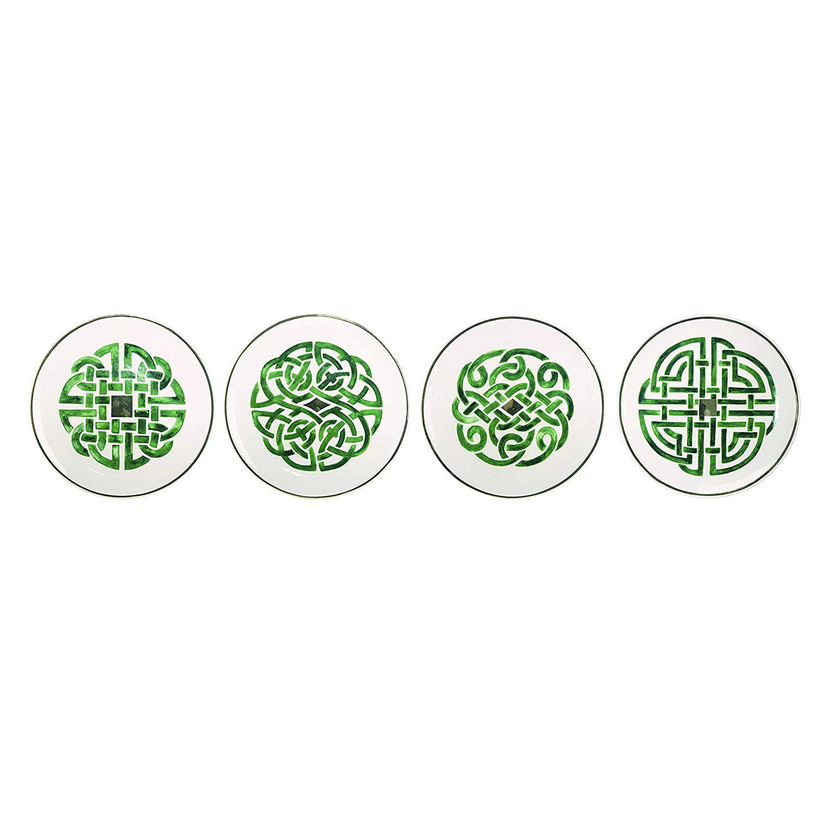 St Patrick's Day Celtic Knot Ceramic Set of 4 Dessert/Appetizer Plates, 6.5 Inch Dessert and Appetizer Plates with Green and Gold, Irish Plate