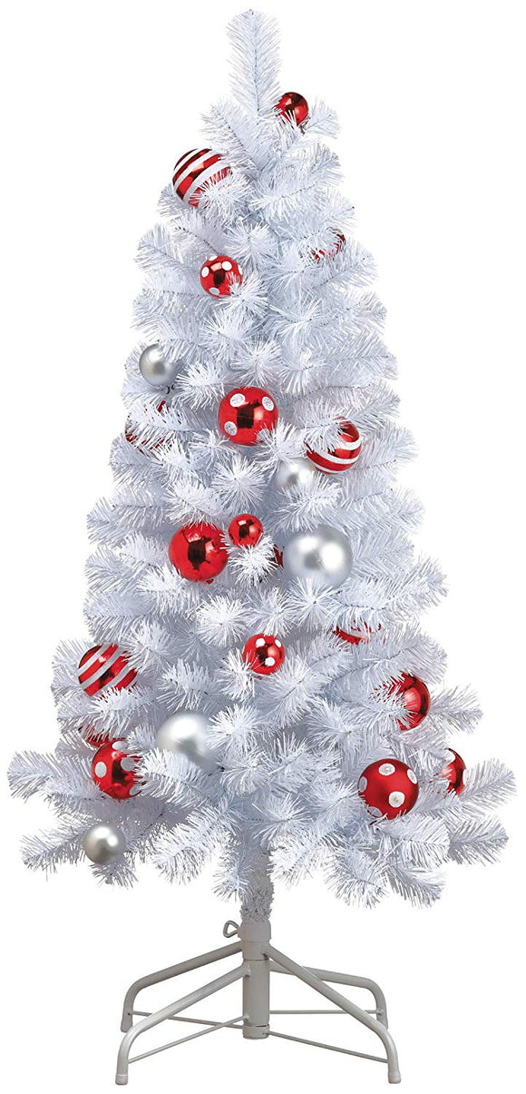TenWaterloo 4 Foot White Snowfall Decorated Christmas Tree with Whimsical Silver and Red Dotted Ornaments