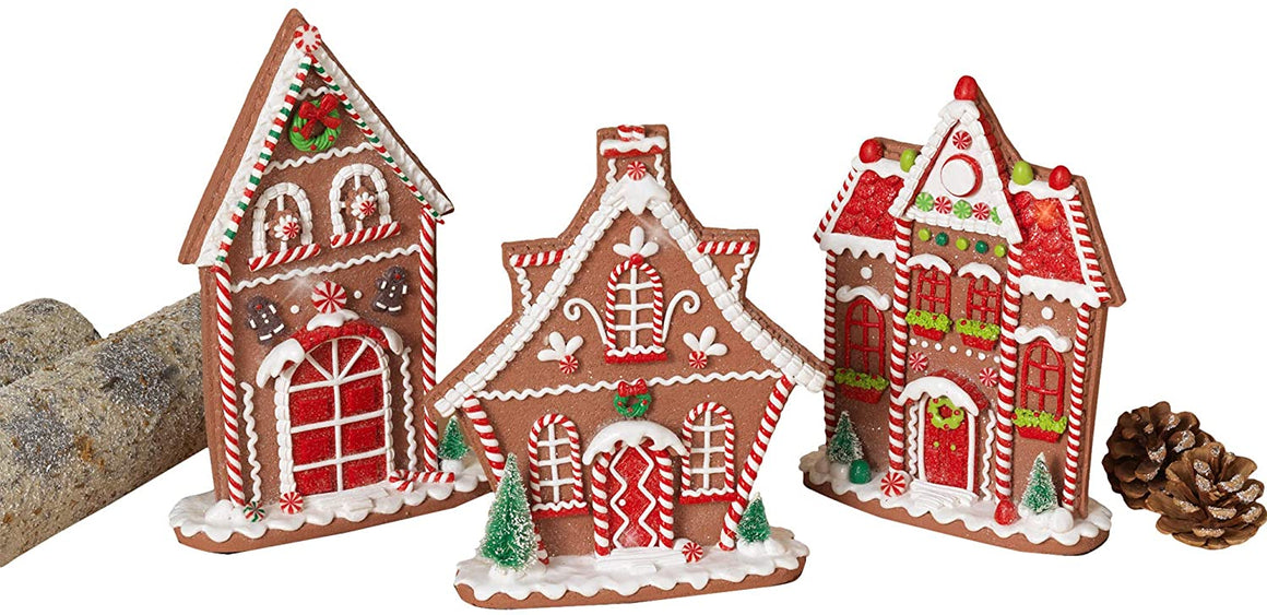 TenWaterloo Set of 3 Gingerbread Peppermint Candy Houses in Clay Dough Resin with Frosted Snow Look, Narrow Design for Mantels and Shelves 9.5, 10 and 10.5 Inches High
