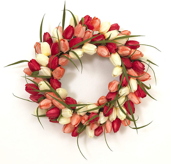 GER 18 Inch Artificial Tulip Wreath in Yellow, Cream, Peach and Red on a Hand Tied Twig Base, Spring and Summer Front Door Wreath