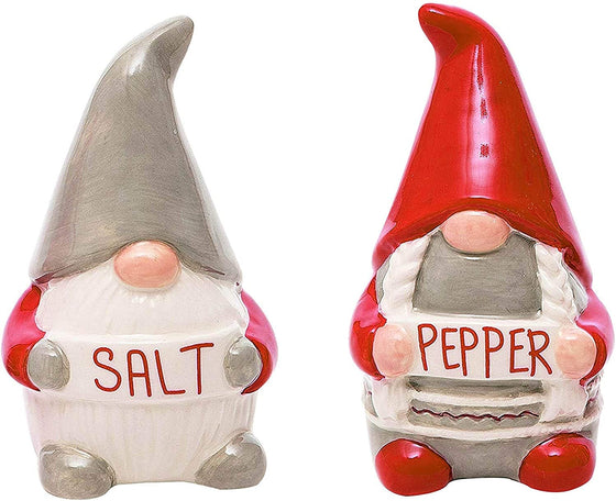 Ceramic Christmas Gnomes Salt and Pepper Shaker Set, 3.5 Inches