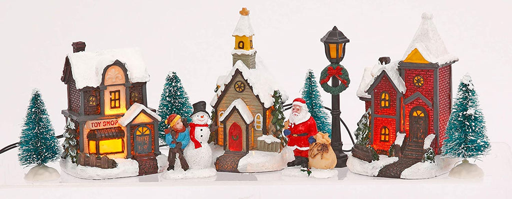 TenWaterloo Lighted Winter Village Town Scene, Battery Operated Christmas Village, with People and Buildings, 3 Inches High, Toy Shop and Santa Figurine