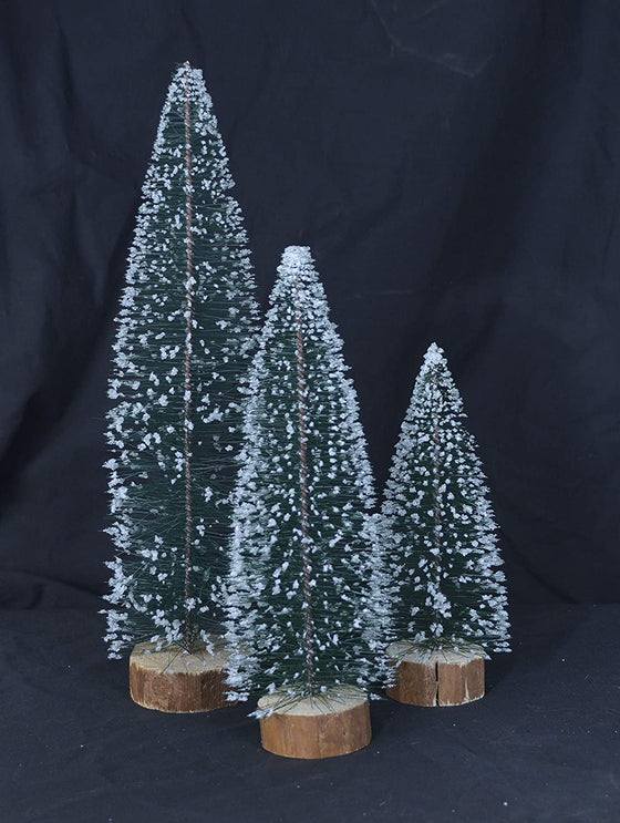 TenWaterloo Christmas Crystal Snow Bottle Brush Trees Set of 3 in Green with Wood Bases 14 Inches, 10.5 Inches and 8 Inches High