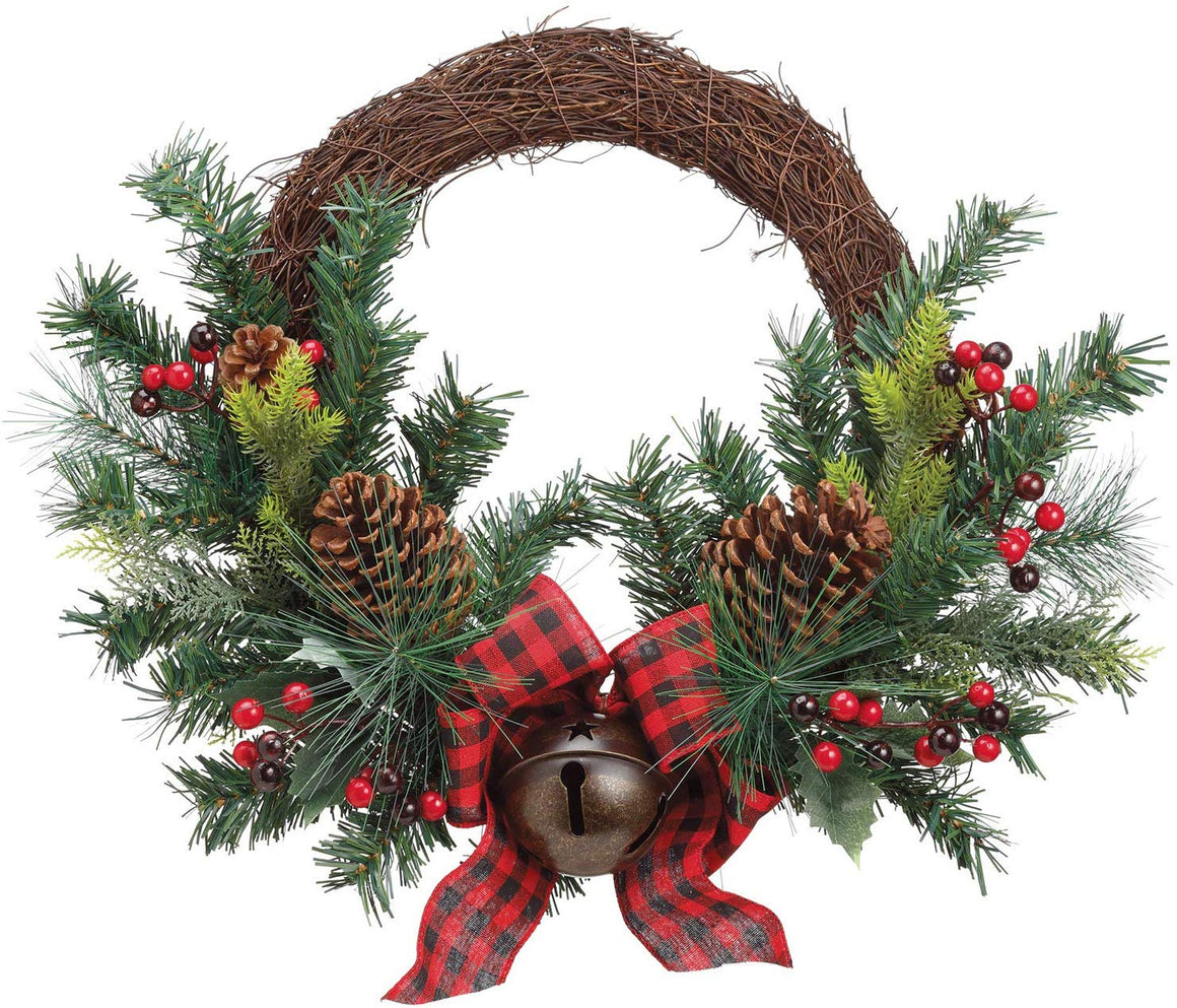 TenWaterloo 20 Inch Mixed Pine Christmas Wreath with Red Berries, Pine Cones, Plaid Bow and Bell, Artificial Floral