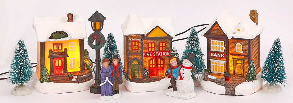TenWaterloo Lighted Winter Village Town Scene, Battery Operated Christmas Village, with People and Buildings, 3 Inches High, Bank and Fire Station