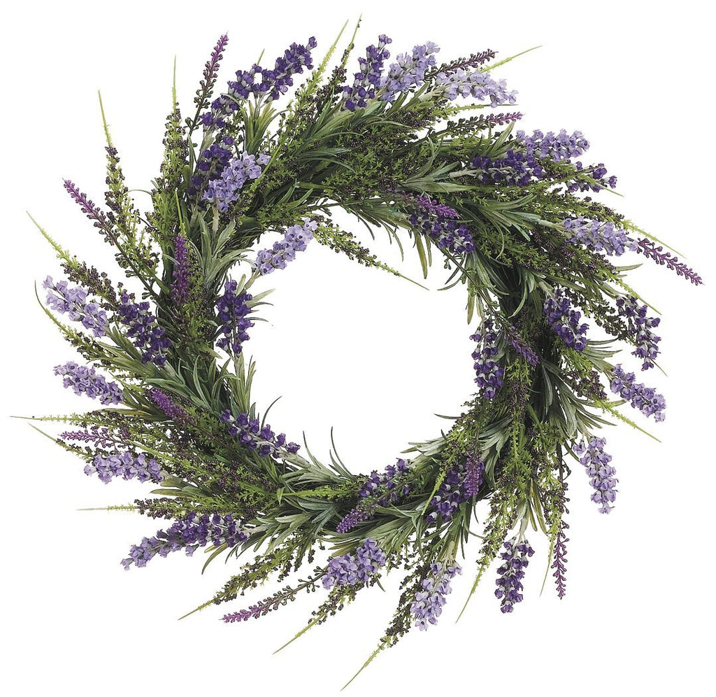 17 Inch Lavender Wreath on Vine Wrapped Base - Spring Wreath