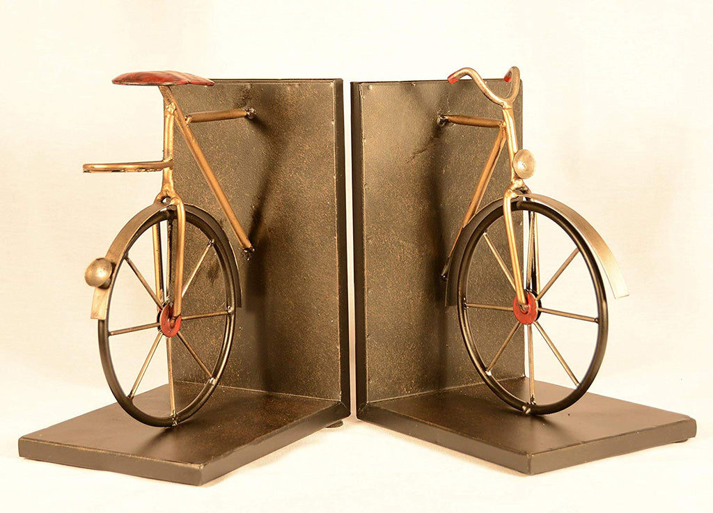 TenWaterloo Bicycle Bookends Pair in Metal, 8 inches High x 6 inches Wide Each Piece, Cycling Bookends