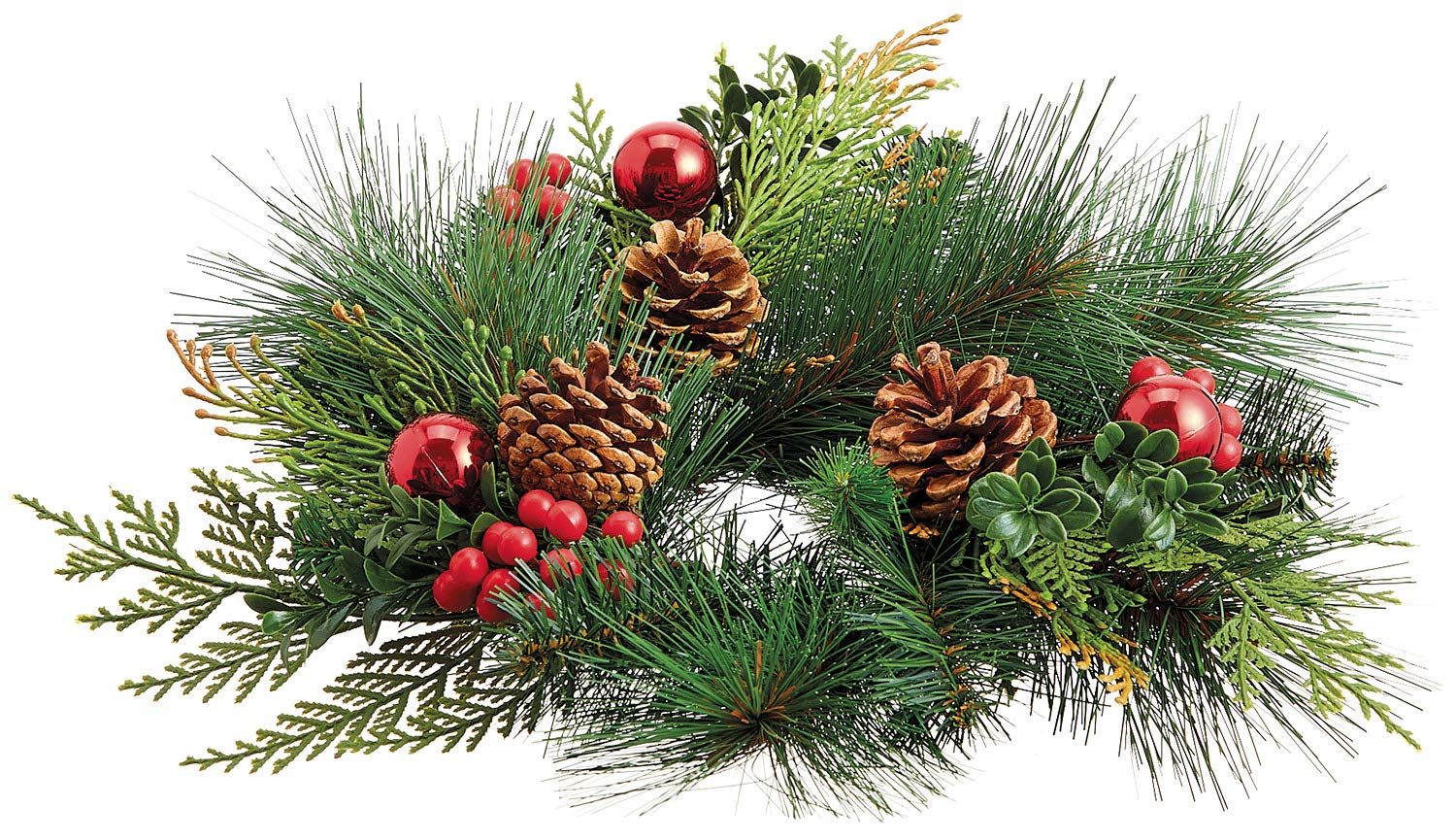 TenWaterloo 12 Inch Christmas Candle Ring with Pine Cones ...