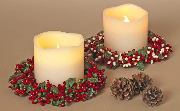TenWaterloo Set of 6 Christmas Candle Rings, Ceramic Bead Berry Candle Rings in Red, Cream and Green, 5.5 Inches