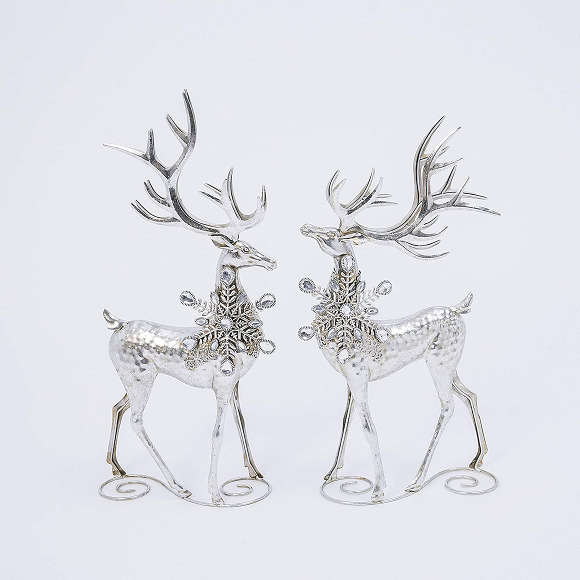 20 Inch High Silver Christmas Deer Set of 2, Decorative Metal Holiday Reindeer