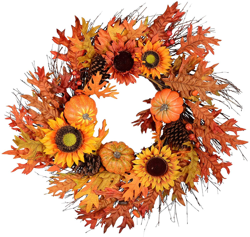 TenWaterloo 30 Inch Fall Wreath with Sunflowers, Pumpkins, and Maple Leaves on Twig Base
