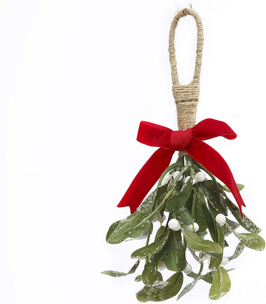 GER Christmas Mistletoe Decoration 11 Inches High - Sparkling Artificial Mistletoe Holiday Hanging Decoration with Red Ribbon Accent and Jute