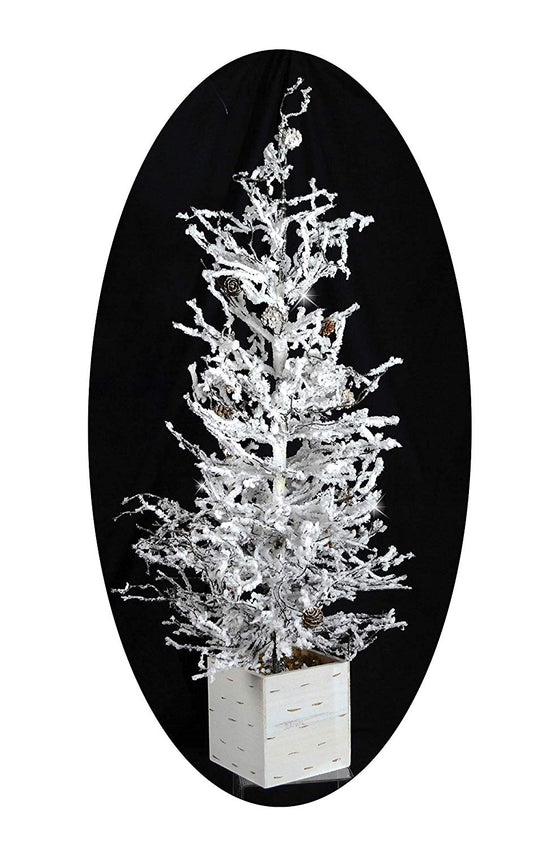 TenWaterloo 32 Inch Tall Snow Flocked Sparkling Winter Tree in Pot