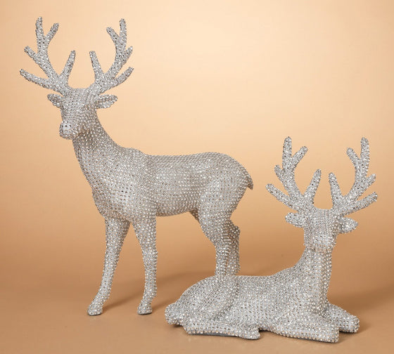 20 Inch High Set of 2 Silver Rhinestone Deer - Christmas Reindeer in Glittered Rhinestone