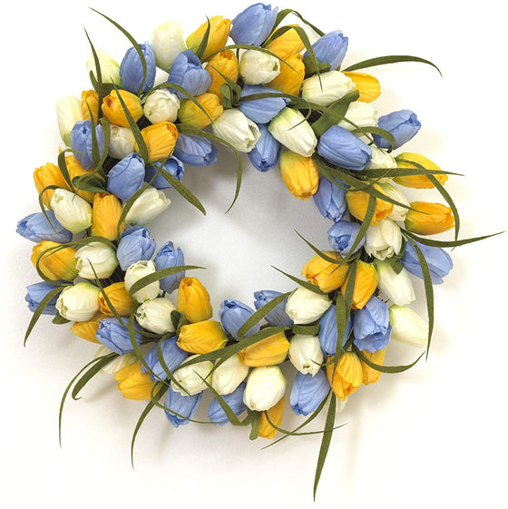 18 Inch Artificial Tulip Wreath in Yellow, Cream and Lavender on a Hand Tied Twig Base, Spring and Summer Front Door Wreath
