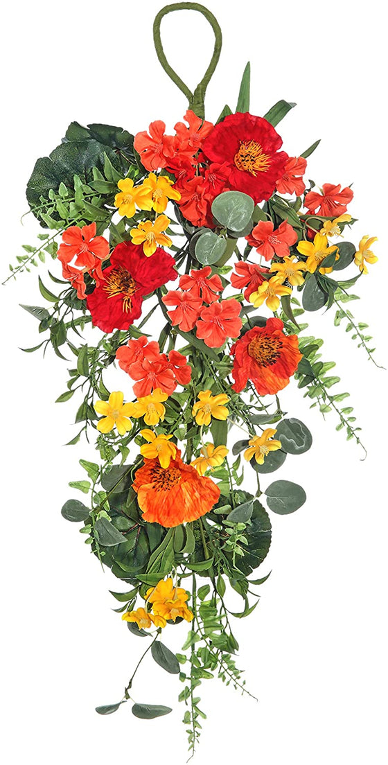 25 Inch Artificial Summer Blooms and Poppy Teardrop Swag in Yellow, Orange, Red and Green