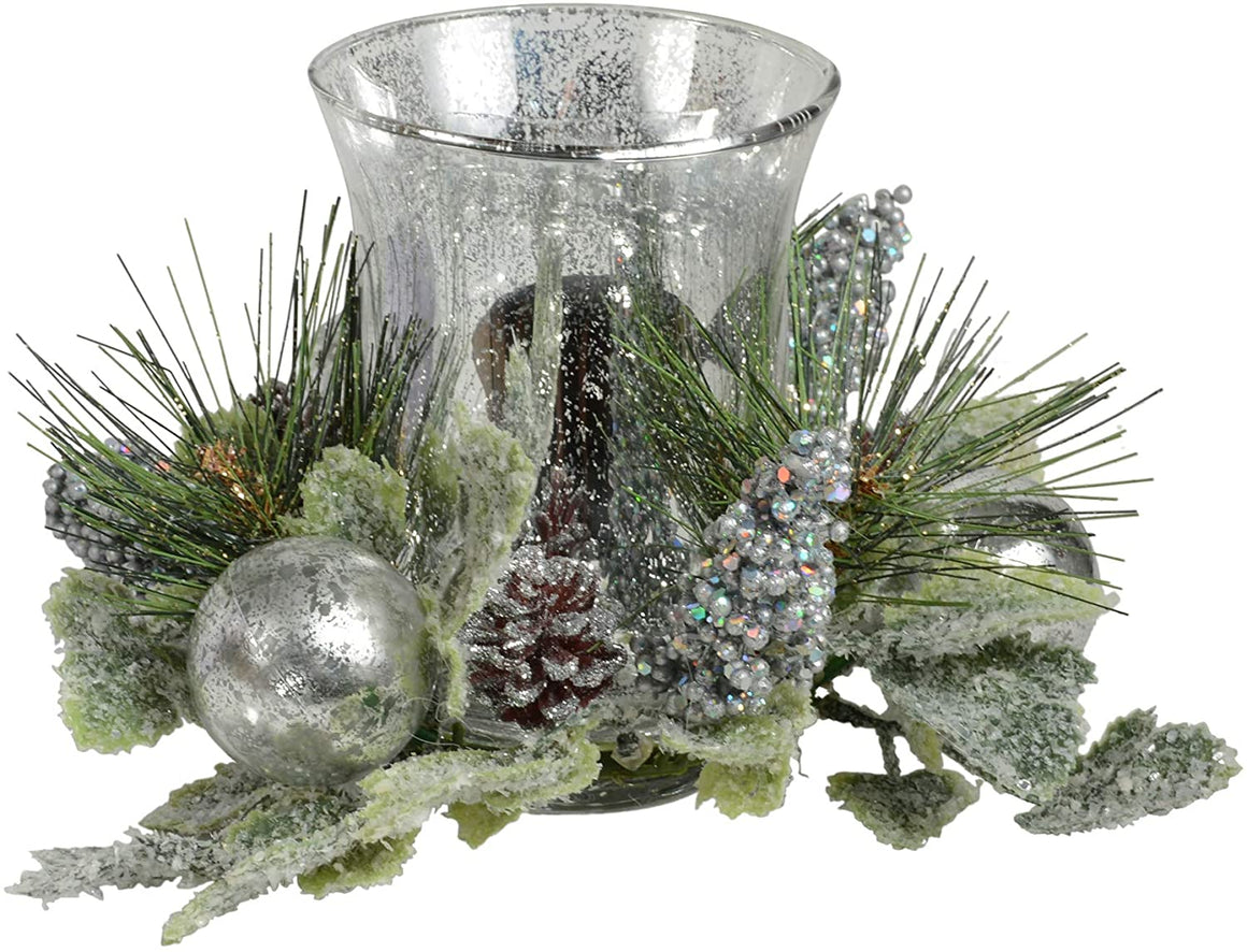 TenWaterloo Silver and Green Christmas Glass Candle Holder with Glittered Berries and Ornaments, 8 Inches Wide x 6 Inches High, Pillar Candle or Votive Candle Holder