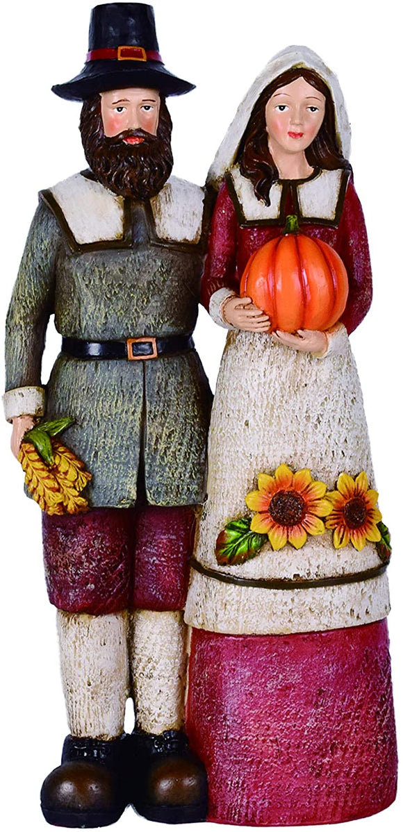 Thanksgiving Pilgrim Couple Figurine with Bountiful Harvest, 12.25 Inches