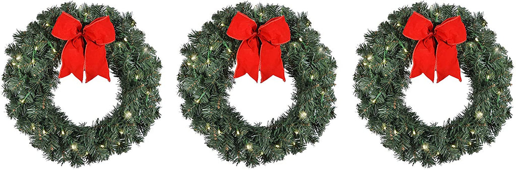 Set of 3 Artificial Pre-Lit Balsam Pine Christmas Wreaths with Red Bows, 16 Inches, Battery Operated with Timers