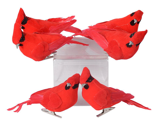 Set of 6 Red Cardinal Birds Christmas Ornaments With Clips