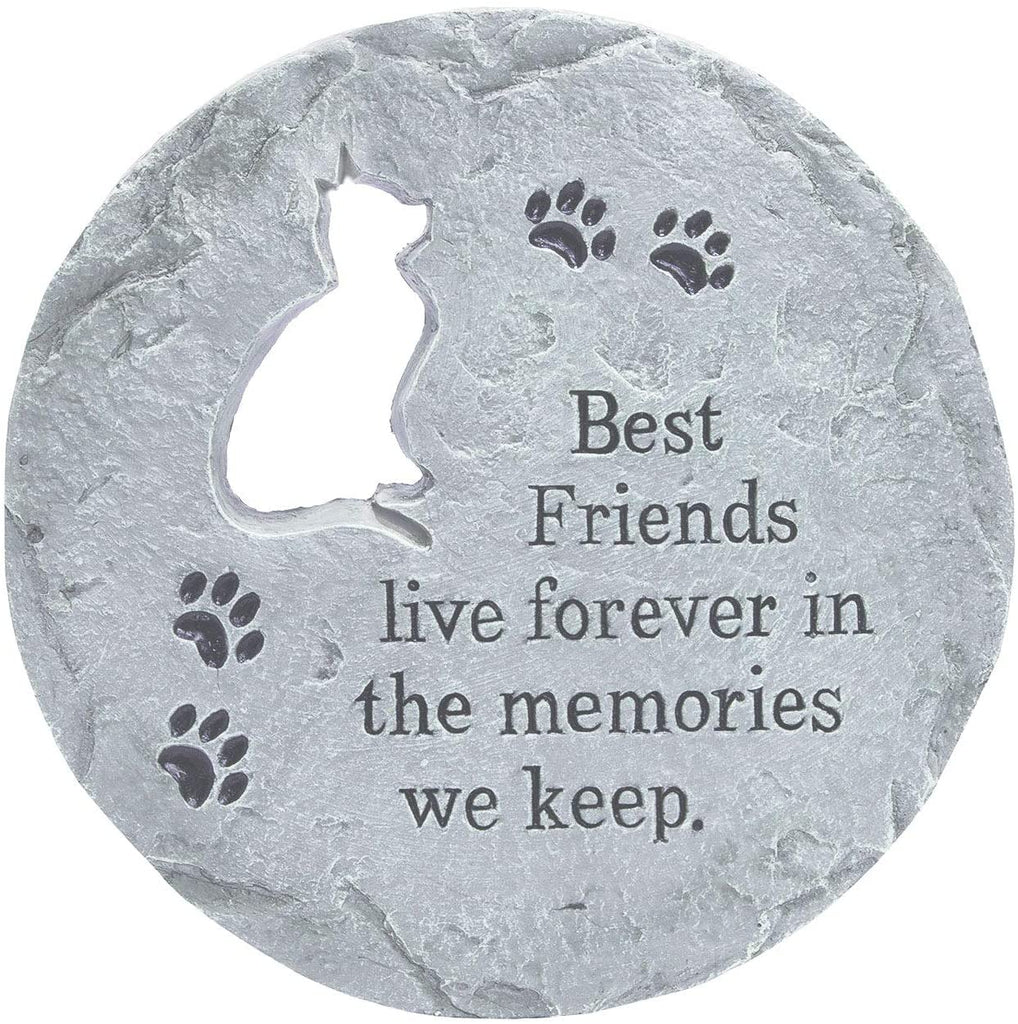 TenWaterloo Cat Memorial Stepping Stone, Gray - Best Friends Live Forever- 12 Inches