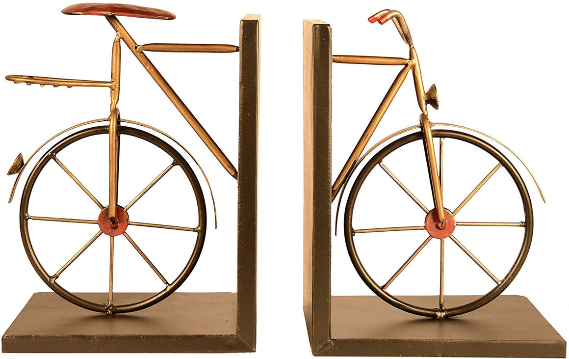 Ten Waterloo Bicycle Bookends Pair in Metal, 8 inches High x 6 inches Wide Each Piece, Cycling Bookends