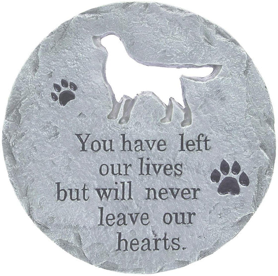 TenWaterloo Dog Memorial Stepping Stone, Gray - Will Never Leave Our Hearts- 12 Inches