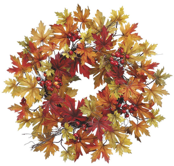24 Inch Fall Wreath with Fall Berries and Mixed Maple Leaves, Thanksgiving Wreath