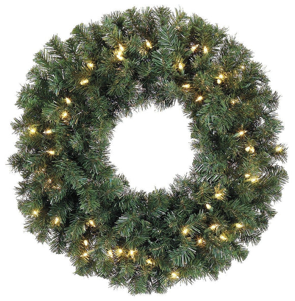 30 Inch Christmas Artificial Balsam Pine Wreath With 220 Tips and 50 LED Lights - Battery Operated With Timer