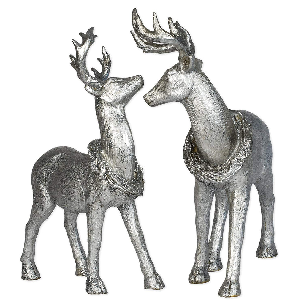 Silver Standing Deer 12 inch Resin Stone Winter Christmas Reindeer Set of 2