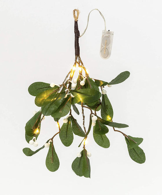 TenWaterloo Artificial LED Lighted Holiday Mistletoe, Hanging Mistletoe Ornament with White Mistletoe Berries, 12 Inches