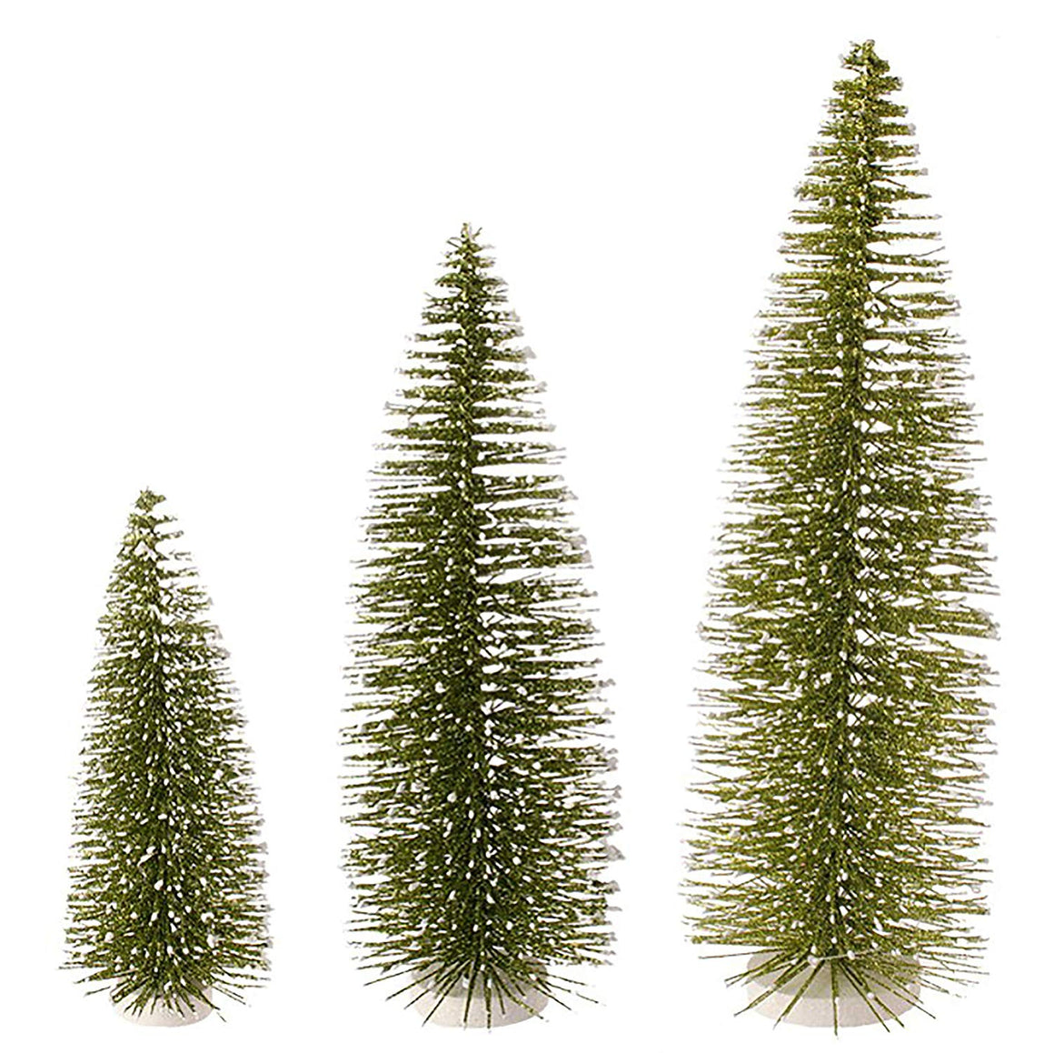 Raz Set of 3 Green Sparkled Bottle Brush Christmas Trees - 9.5, 13.5 and 18 Inches High