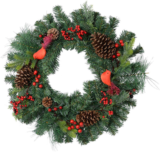 TenWaterloo 22 Inch Red Cardinal Mixed Pine Christmas Wreath with Berries and Pine Cones, Artificial Pine Front Door Wreath