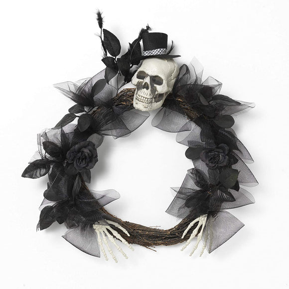 Gerson 2544730 Halloween Wreath with Skull, 22-inch Diameter