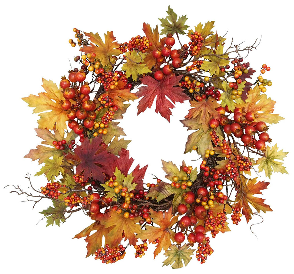 Ten Waterloo 24 Inch Fall and Thanksgiving Wreath - Artificial Maple Leaf Wreath with Berries on Twig Base