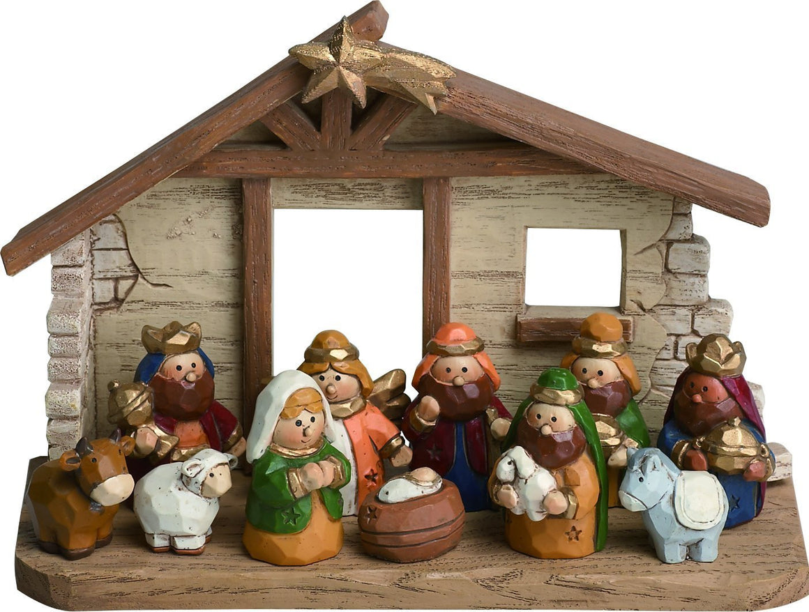Charming Christmas Nativity Set of 11 Figurines with Creche