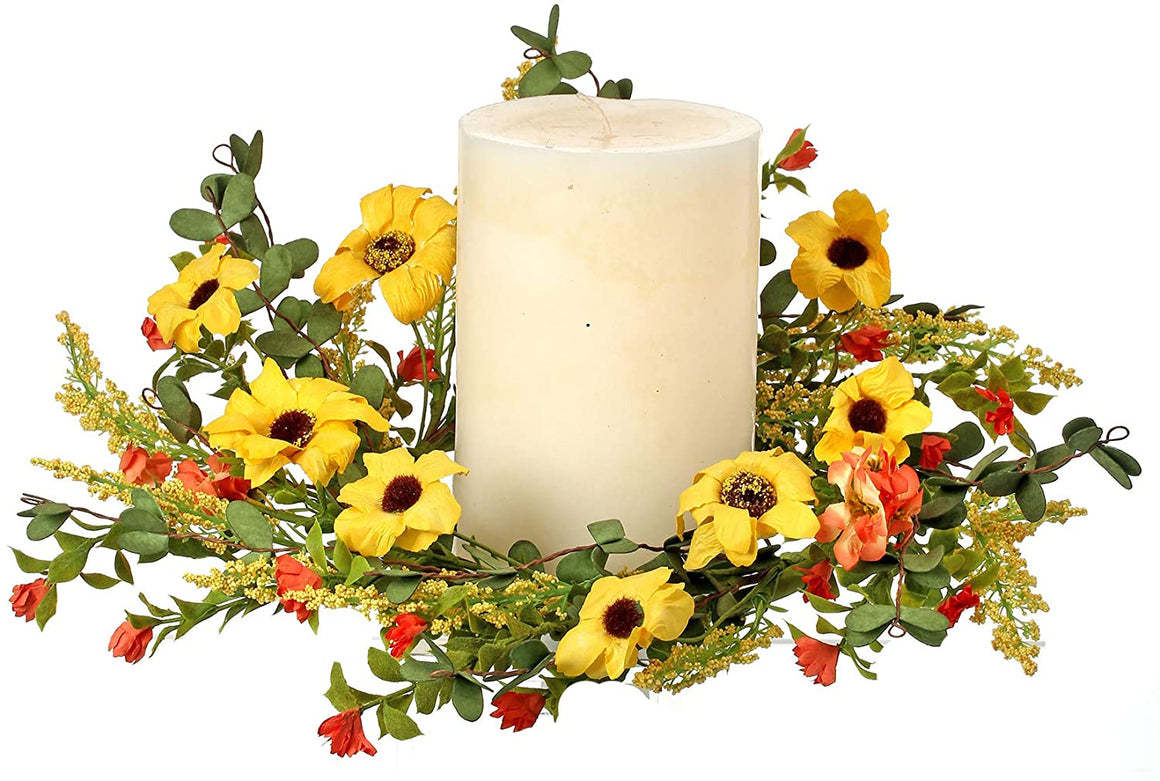 Spring and Summer Floral Pillar Candle Ring with Artificial Daisy, Aster, Primrose and Wildflowers in Yellow, Orange and Green, 12 inches x 3 inches, Dried Flower Look