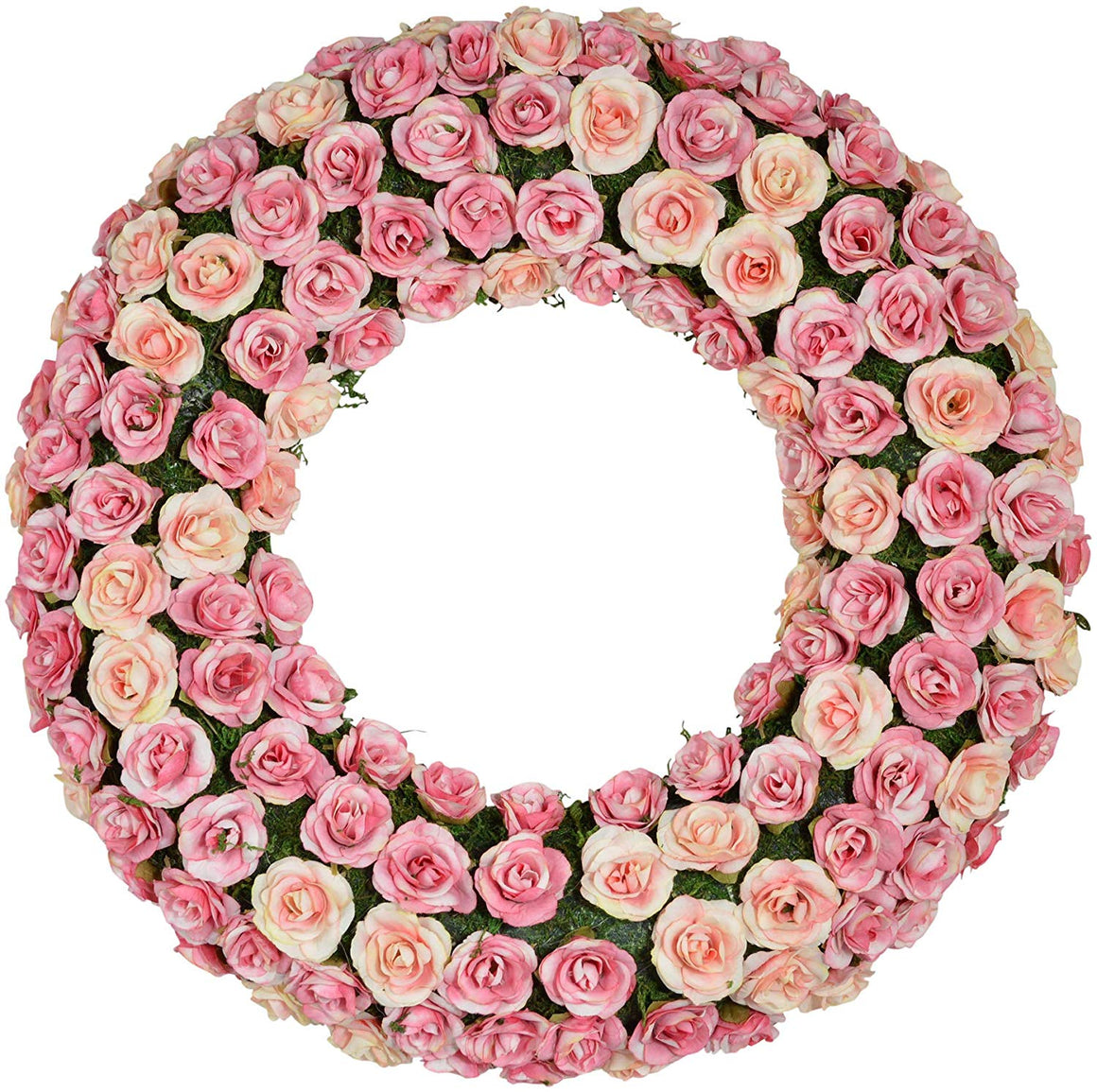 TII 16 Inch Rosette Wreath in Pink and Cream, Rose Blossom and Moss Spring and Summer Front Door Wreath