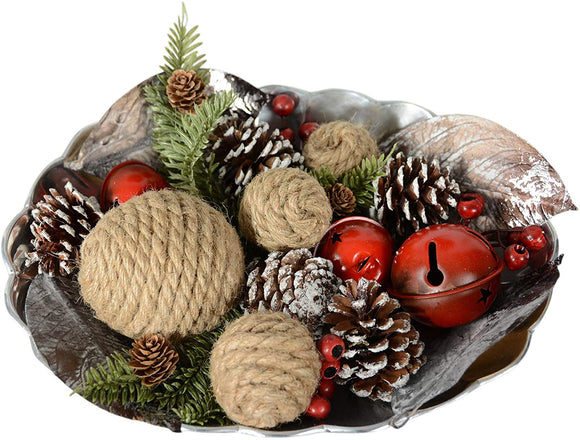 TenWaterloo Christmas Bowl Filler with Red Jingle Bells, Pine Cones, Berries and Gold or Silver Accents