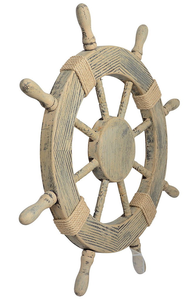 "Nautical Decor 24"" Wood Look Pirate's Ship Wheel Marine Wall Decor"