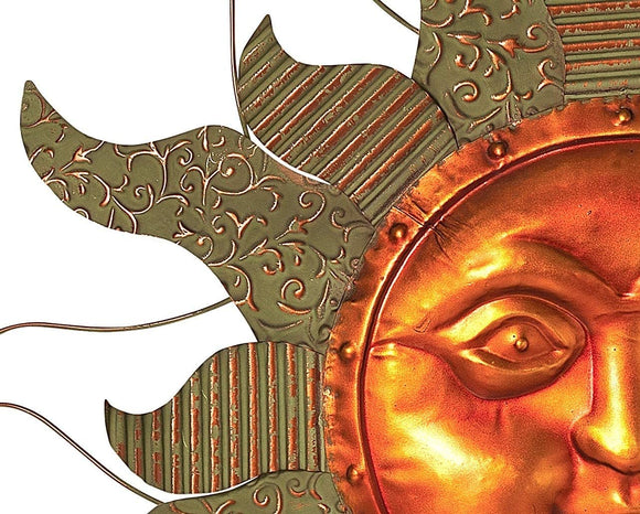 "Mission Gallery Stunning 29.5"" Large Copper Face Metal Wall Decor with Beautiful Patinaed Sun Rays"