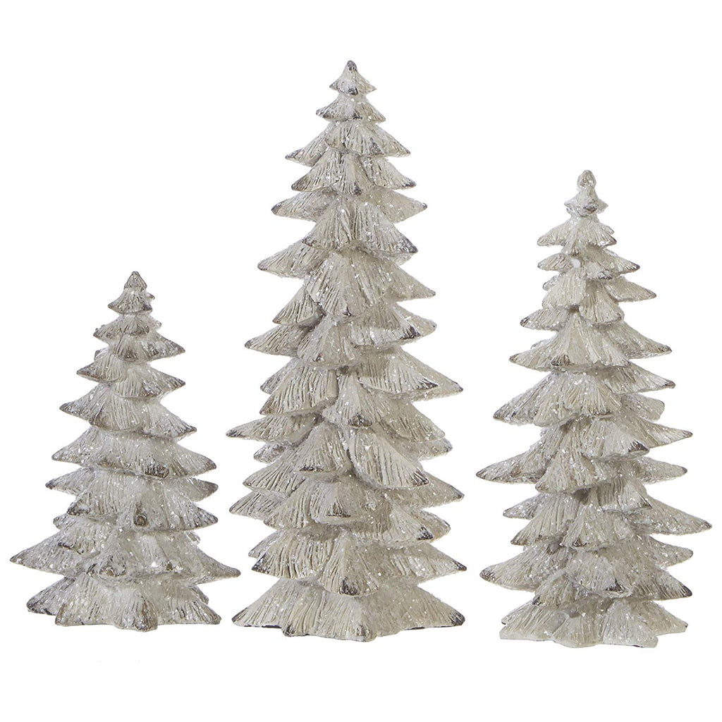 Raz Set of 3 Antique White Glittered Christmas Trees- 6.25 inches to 9.5 inches Tall