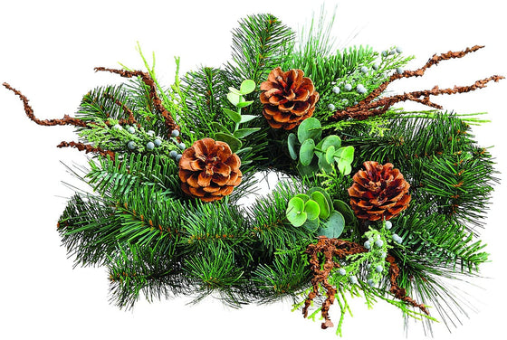 TenWaterloo 12 Inches Mixed Pine Christmas Candle Ring with Pine Cones and Eucalyptus, Artificial Pine