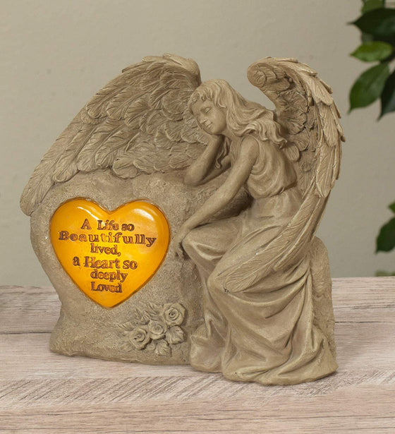 Solar Lighted Memorial Garden Angel Statue with Heart Sentiment 8 Inches